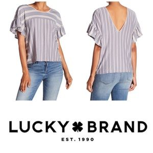 Lucky Brand Ruffle Stripe Top, new with tags